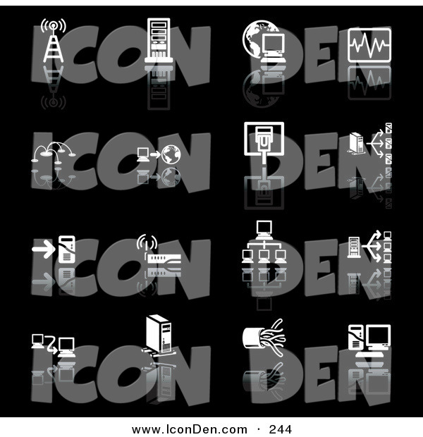 Clip Art of a Set of 16 Black and White Network Icons of a Communications Tower, Computers, Globe, Chart, Www, Connections, Wireless Router, and Cables, on a Black Background