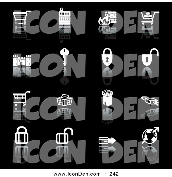 Clip Art of a Set of 16 Black and White Secure Checkout Icons of Shopping Carts, Cash Register, Fire, Key, Castle, Padlocks, Tower, Globe and Credit Card, on a Black Background