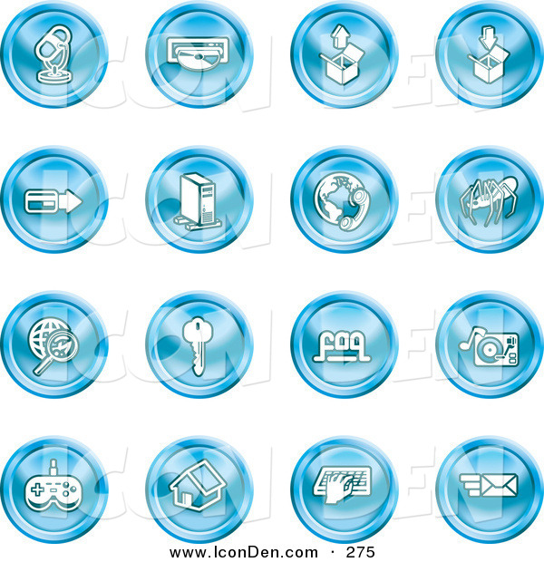 Clip Art of a Set of 16 Blue Entertainment Icons of a Microphone, Disc, Upload, Download, Credit Card, Computer, Telephone, Spider, Searching, Key, Faq, Record Player, Controller, Home, Typing and Email