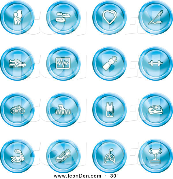 Clip Art of a Set of 16 Blue Icons of a Knee Joint, Pills, Heart, Wheat, Shoes, Chart, Water Bottle, Weights, Bike, Swimmer, Fitness Clothes, Muscles, Lungs and Trophy