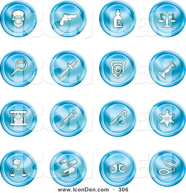 Clip Art of a Set of 16 Blue Icons of a Skull, Pistol, Poison, Scales, Magnifying Glass, Knife, Police Badge, Candlestick, Prisoner, Syringe, Sheriff Badge, Pills, Handcuffs and a Noose