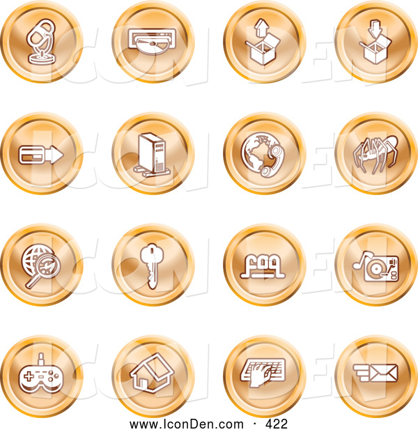 Clip Art of a Set of 16 Orb Shaped Entertainment Icons