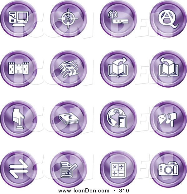 Clip Art of a Set of 16 Purple Icons of a Computer, Viewfinder, Wireless, Questions and Answer, Castle, Music, Forward, Back, Www, Mail, Math and Camera
