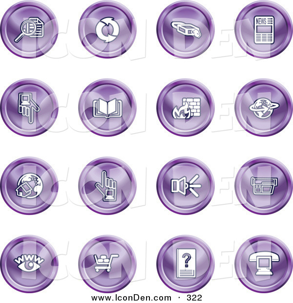 Clip Art of a Set of 16 Purple Icons of Security Symbols on a White Background