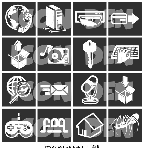 Clip Art of a Set of 16 White Business Icons over a Black Background
