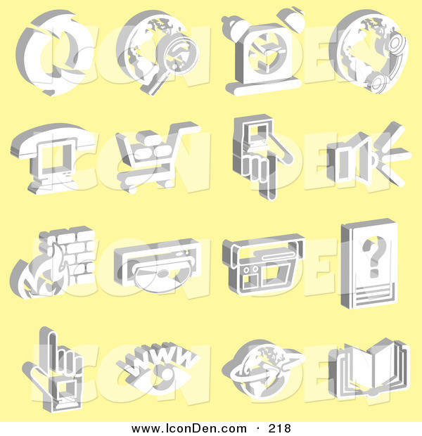 Clip Art of a Set of 16 White Icons on a Yellow Background