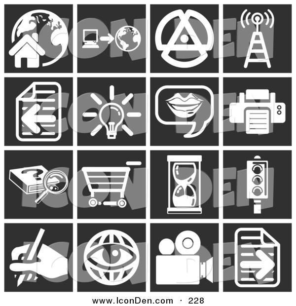 Clip Art of a Set of 16 White Media Icons over a Black Background