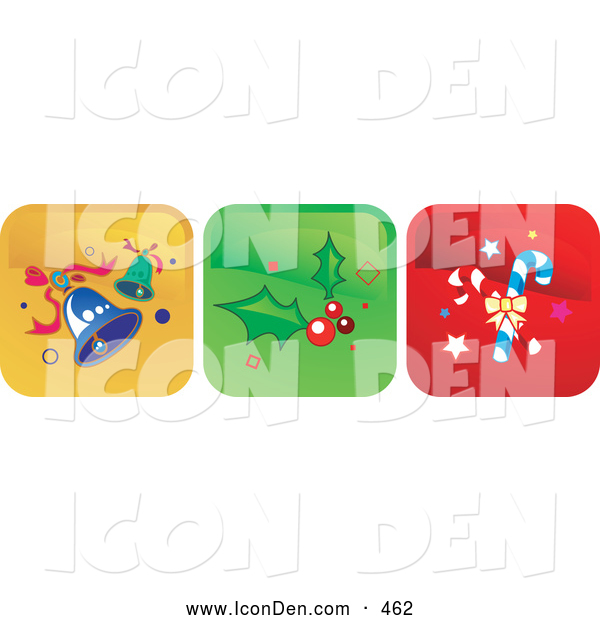 Clip Art of a Set of 3 Icons of Blue Jingle Bells, Holly and Berries and Candy Canes over Yellow, Green and Red Backgrounds