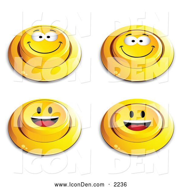 Clip Art of a Set of 4 Yellow Push Buttons with Grinning and Happy Faces