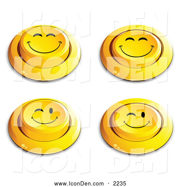 Clip Art of a Set of 4 Yellow Push Buttons with Grinning and Winking Faces