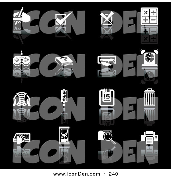 Clip Art of a Set of Black and White Application Icons on a Black Background