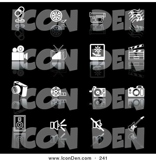 Clip Art of a Set of Black and White Media Icons on a Reflective Black Background