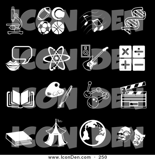 Clip Art of a Set of Black and White School Subject Icons on Black