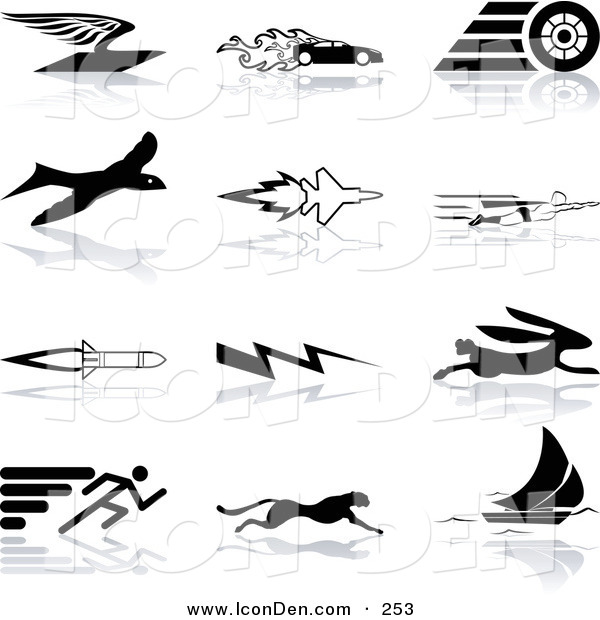 Clip Art of a Set of Black Silhouetted Speed Icons on White