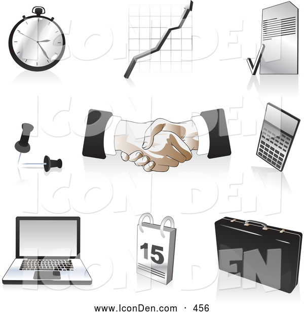 Clip Art of a Set of Black, Silver and Tan Business Icons, over White