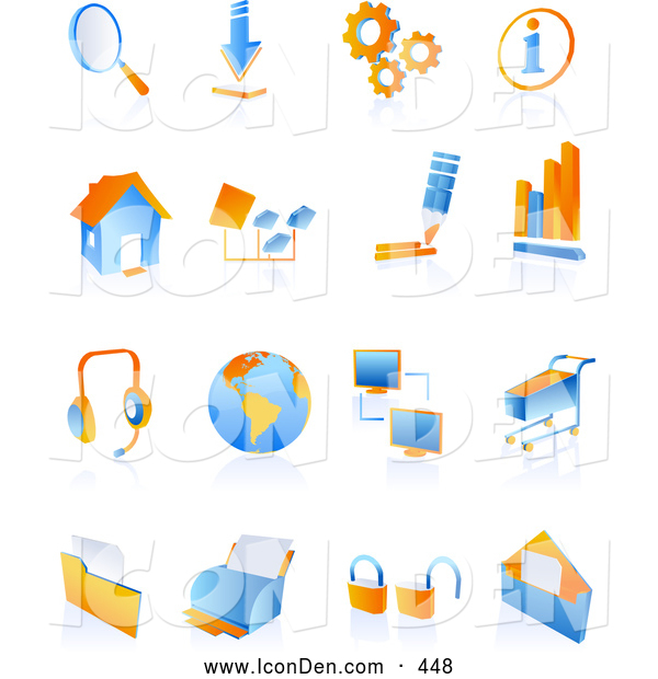 Clip Art of a Set of Blue and Orange Internet Icons on a Reflective White Background