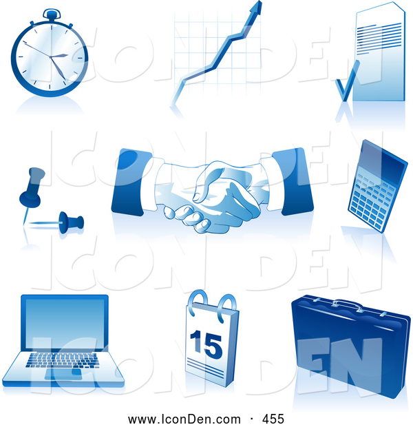 Clip Art of a Set of Blue and White Pocketwatch, Graph, Letter, Push Pins, Handshakes, Calculator, Laptop Computer, Calendar and Briefcase Icons