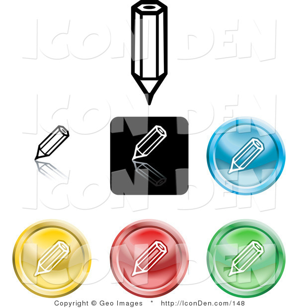 Clip Art of a Set of Different Colored Pencil Icon Buttons