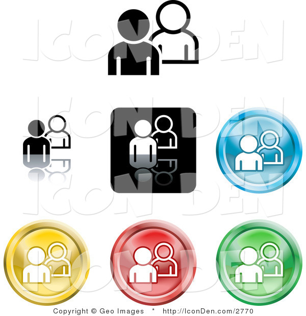 Clip Art of a Set of Different Colored People Icon Buttons