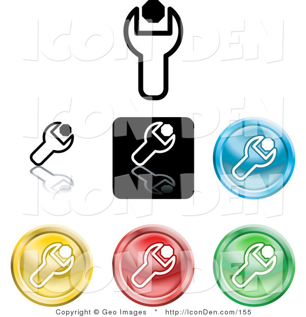 Clip Art of a Set of Different Colored Spanner Icon Buttons