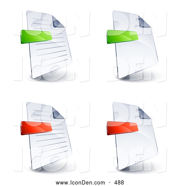 Clip Art of a Set of Four Lined and Blank Office Document Pages with Green and Red Minus and Subtraction Symbols, on a White Background