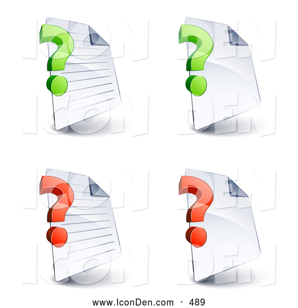 Clip Art of a Set of Four Lined and Blank Office Document Pages with Green and Red Question Marks, on a White Background