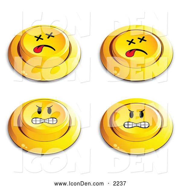 Clip Art of a Set of Four Yellow Push Buttons with Dead and Angry Faces, on White