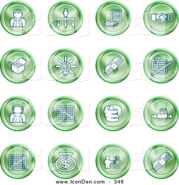 Clip Art of a Set of Green Business Icons of Business People, Management, Hand Shake, Lightbulb, Cash, Charts, and Money Bags
