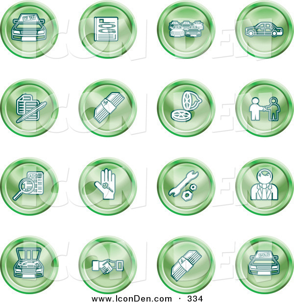 Clip Art of a Set of Green Icons of Cars, a Log, Cash, Lemon, Dealer, Ads, Key, Wrench, Engine, Handshake and Money