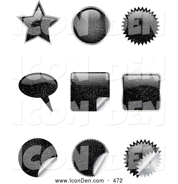 Clip Art of a Set of Nine Black Scratched Star, Circle, Bursts, Peeling Stickers and Word Balloons Designs