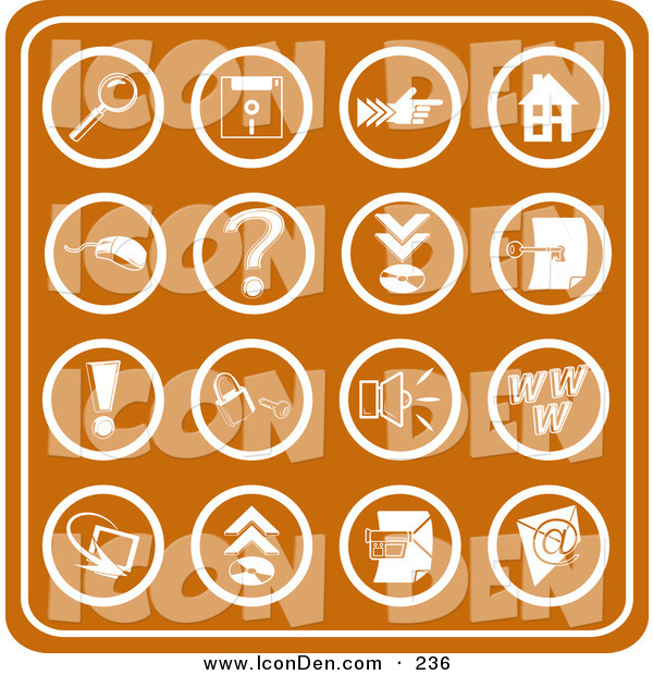 Clip Art of a Set of Orange Web Icons Including a Magnifying Glass, Disc, Pointer, Home, Computer Mouse, Question Mark, Key, Exclamation Point, Padlock, Speaker, Www, Screen, Camera and Email