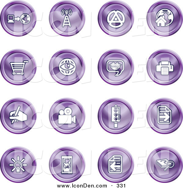 Clip Art of a Set of Purple Icons of a Communications Tower, Www, Home Page, Shopping Cart, Messenger, Printer, Camera, Street Light, Lightbulb, Hourglass and Search