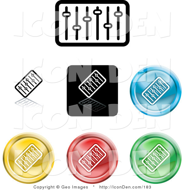 Clip Art of a Set of Seven Different Colored Equalizer Icon Buttons