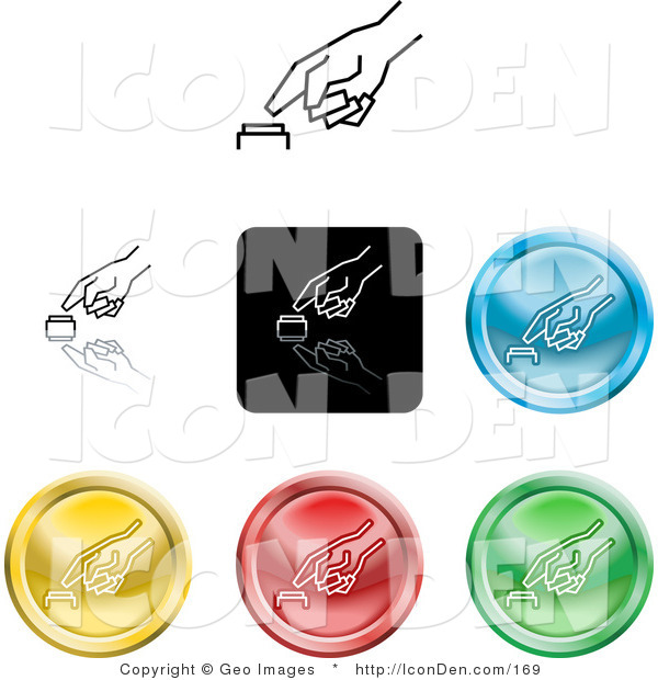 Clip Art of a Set of Seven Different Colored Icon Buttons of a Finger Pushing a Button