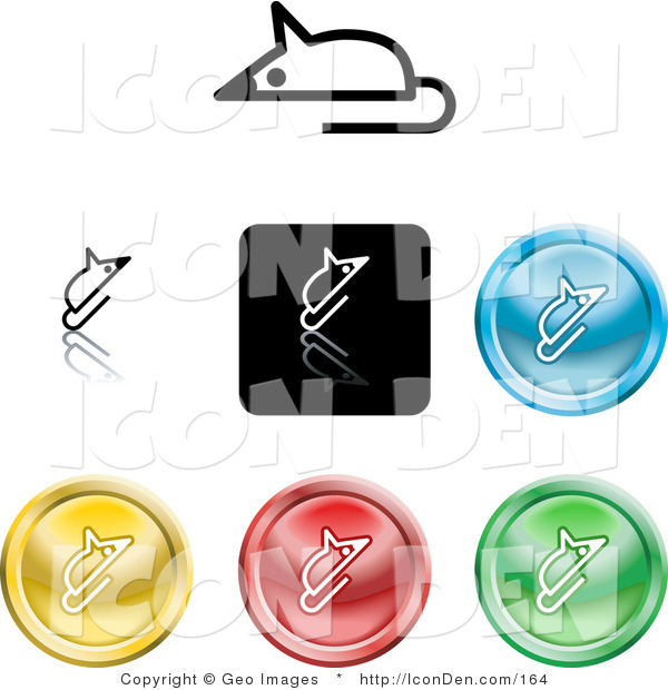 Clip Art of a Set of Seven Different Colored Mouse Icon Buttons