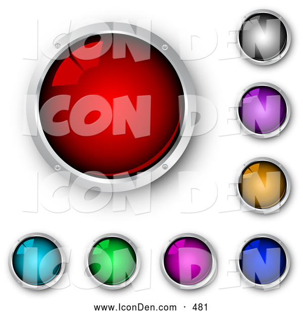 Clip Art of a Set of Shiny Red, Blue, Green, Purple, Pink, Orange and Black Internet Buttons Framed in Chrome, on White