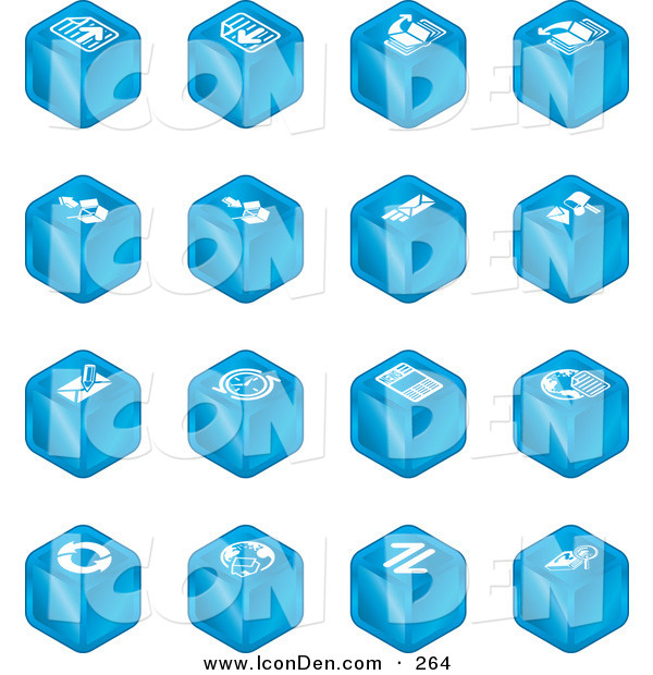 Clip Art of a Set of Sixteen Blue Cube Icons of Page Forward, Page Back, Upload, Download, Email, Snail Mail, Envelope, Refresh, News, Www, Home Page, and Information