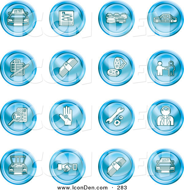 Clip Art of a Set of Sixteen Blue Icons of Cars, a Log, Cash, Lemon, Dealer, Ads, Key, Wrench, Engine, Handshake and Money