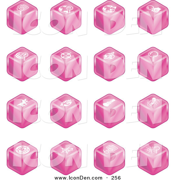 Clip Art of a Set of Sixteen Pink Cube Icons of Searches, View Finders, Www, Magnifying Glasses, Dogs, Flashlight, and Spider