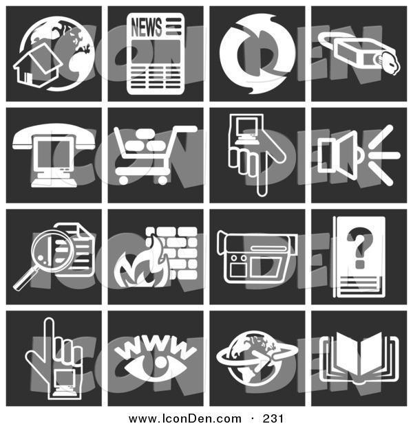 Clip Art of a Set of Sixteen White Icons over a Tiled Black Background