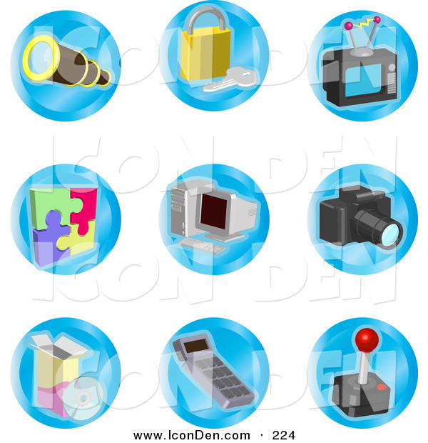 Clip Art of a Set of Telescope, Padlock, Television, Puzzle, Computer, Camera, Disc, Calculator and Joystick Color Icons on a White Background