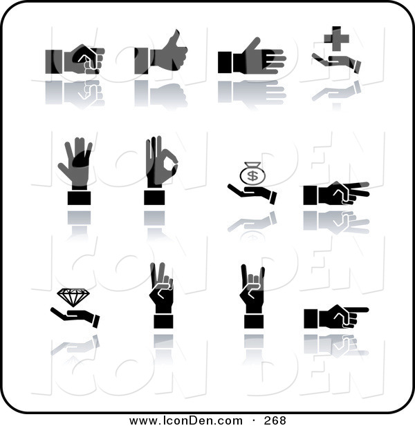 Clip Art of a Set of Twelve Black Silhouetted Hands Gesturing on a White Background