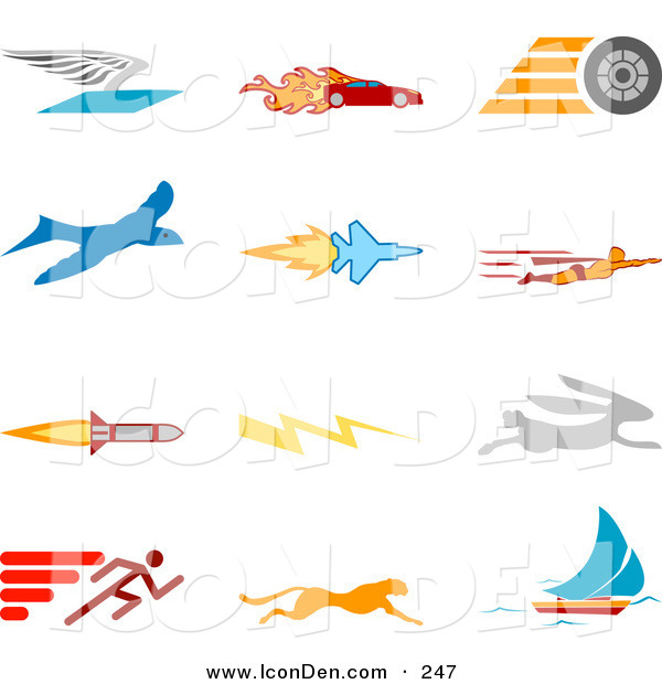 Clip Art of a Set of Twelve Colorful Speed Icons of a Winged Envelope, Flaming Race Car, Tire, Blue Dove, Flying Jet, Super Hero, Rocket, Lightning Bolt, Rabbit, Runner, Cheetah and Sailboat, over a White Background