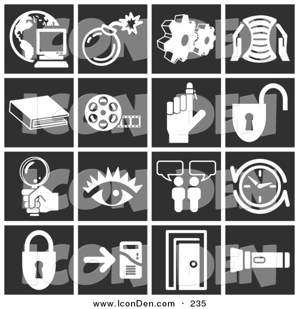 Clip Art of a Set of White Icons over a Black Background, Including a Computer over a Globe, Bomb, Cogs, Letter, Book, Film Reel, Reminder on a Finger, Padlock, Magnifying Glass, Eye, Messenger, Clock, Doorway, and Flashlight