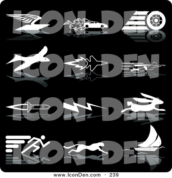 Clip Art of a Set of White Silhouette Speed Icons of an Envelope with Wings, Race Car with Flames, Race Car Tire, Bird, Jet, Super Man, Rocket, Lightning, Rabbit, Runner, Cheetah and Sailboat, over a Black Background