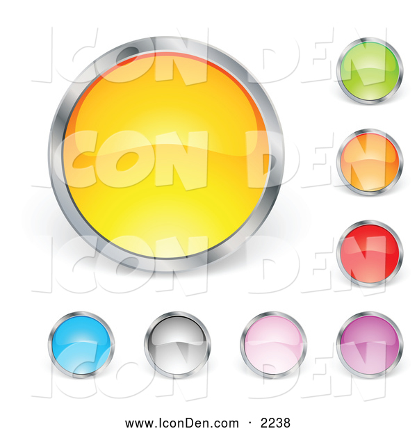 Clip Art of a Set of Yellow, Green, Orange, Red, Purple, Pink, Gray and Blue Circular Buttons