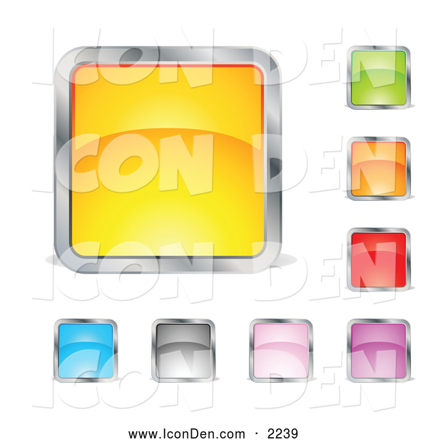 Clip Art of a Set of Yellow, Green, Orange, Red, Purple, Pink, Gray and Blue Squares or Buttons