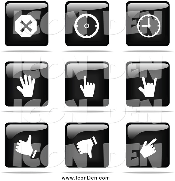 Clip Art of a Shiny Black and White Square Time and Hand Website Button Icons