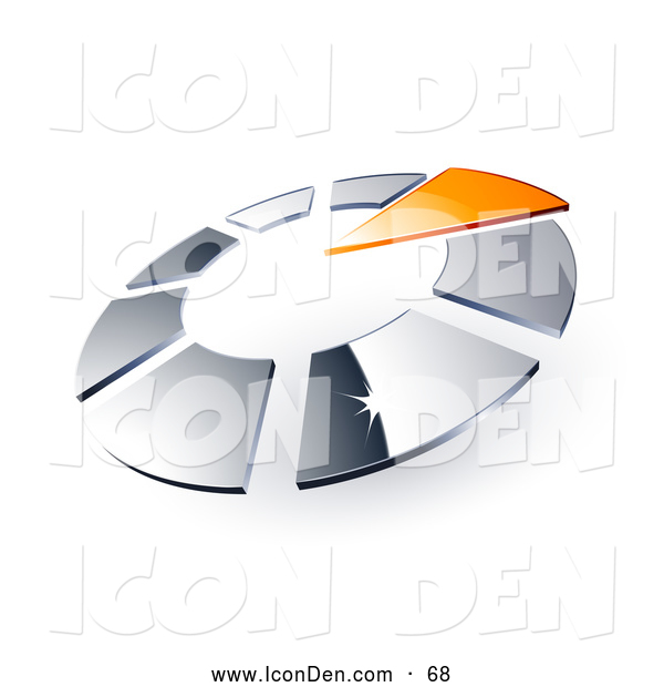 Clip Art of a Shiny Circle of Chrome Squares and One Orange Triangle Pointing Inwards, Resembling a Timer
