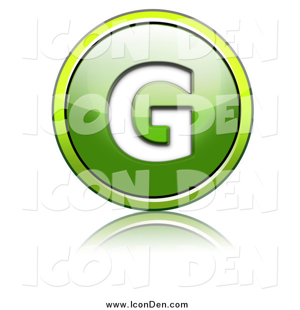 Clip Art of a Shiny Green Capital G Icon Button